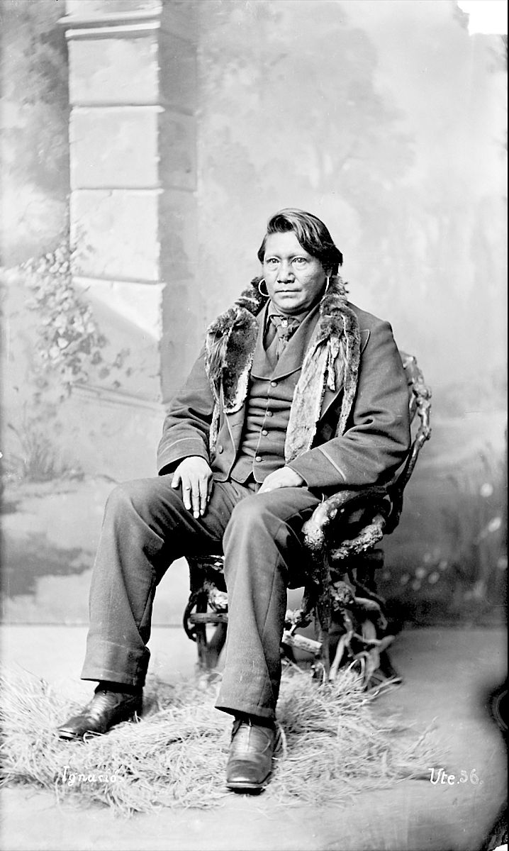 Ute Chief Ignacio in Partial Native Dress with Ornaments - Hilers - 1878
