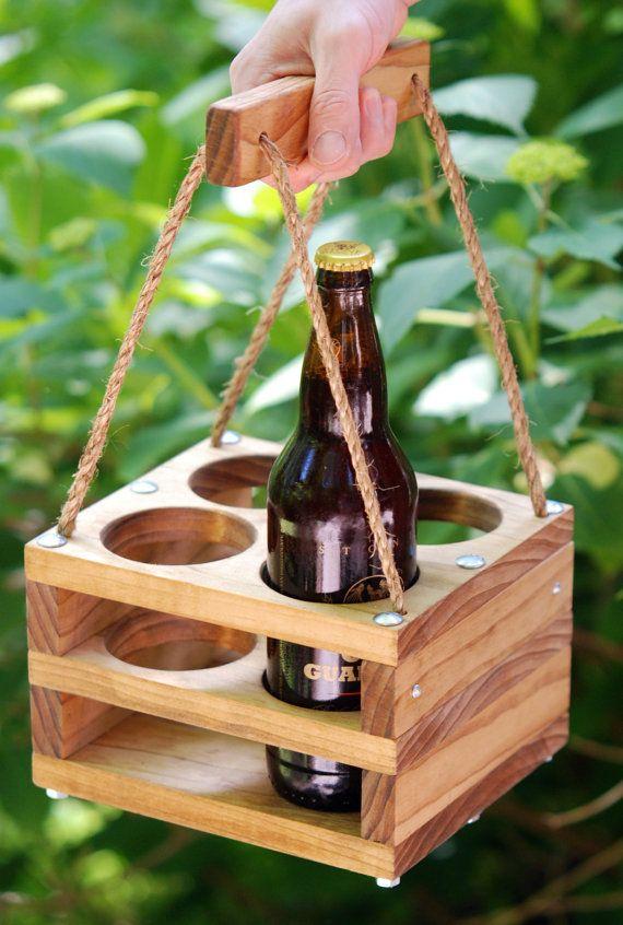 Handmade Wood 4-Bottle Beer Carrier for Bombers-- Homebrew Gift. $60.00, via Etsy.