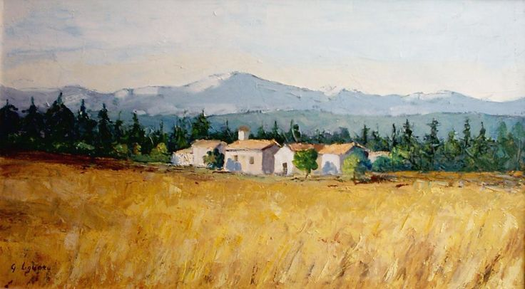 Italian cottages, countryside at the foot of Monte Rosa #painting #oil on canvas