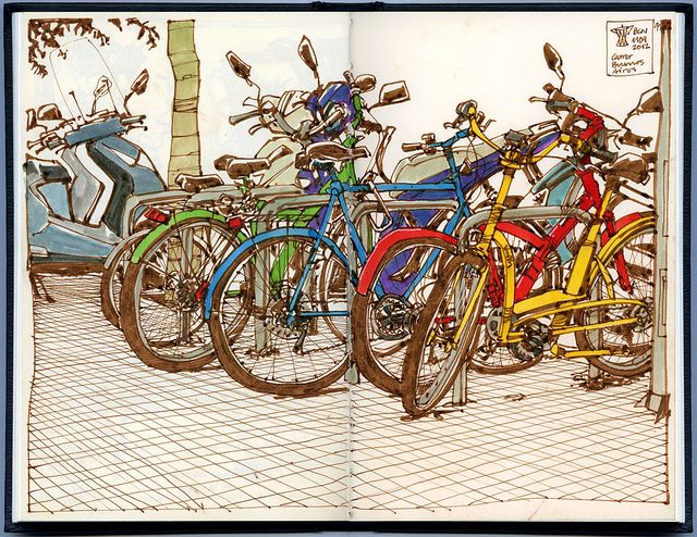 Bike mess by freekhand, via Flickr (check out Flickr for more awesome sketchbook…