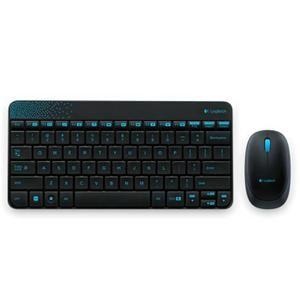 Pack clavier souris sans fil - Confort de frappe - Conception durable et étanche - Récepteur USB - Souris optique haute définition 1000ppp - Cryptage AES 128 bits  - Couleurs : noir & bleu