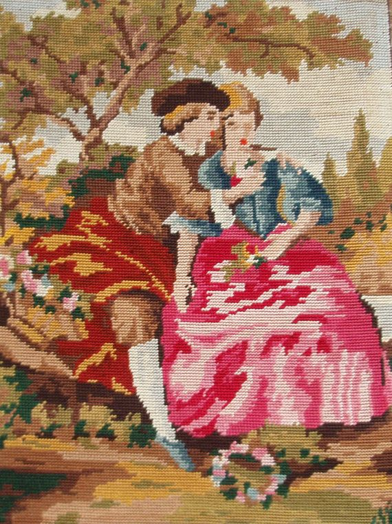 Vintage French Needlepoint Tapestry Canvas Embroidery By
