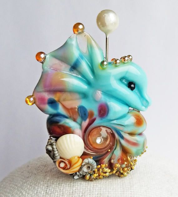 Beachy Bottom Seahorse Focal in Gypsy Blue by Sabrina Koebel Handmade Lampwork Beads