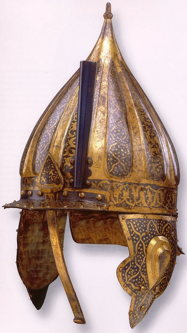 Hungarian zischagge helmet from the 16th century, this style of helmet was based on the Ottoman chichak helmet,  various other countries used their own versions of the chichak including Mughal India, in Europe the zischagge helmet was a Germanisation of the original Turkish name.