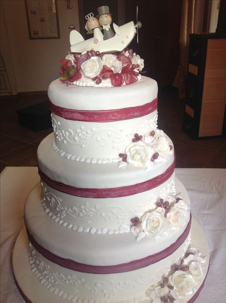Wedding cake with airplane