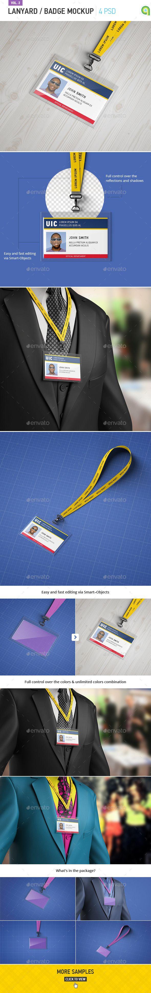 Horizontal Lanyard / Badge Mock-up (Stationery)