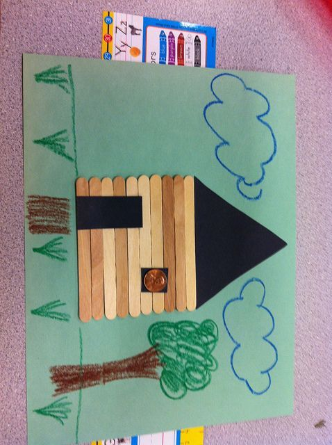 Presidents' Day Abraham Lincoln log cabin classroom craft