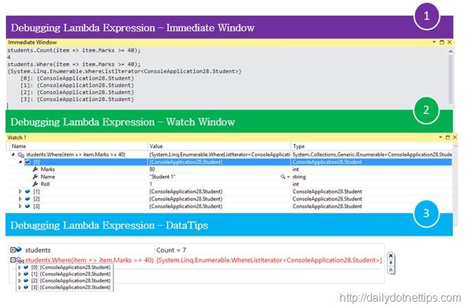 Debugging Lambda Expression in Visual Studio 2015 – Watch Windows, Immediate Windows and also in DataTips