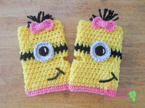 Girl Minion Fingerless Gloves Crochet Items I personally ...