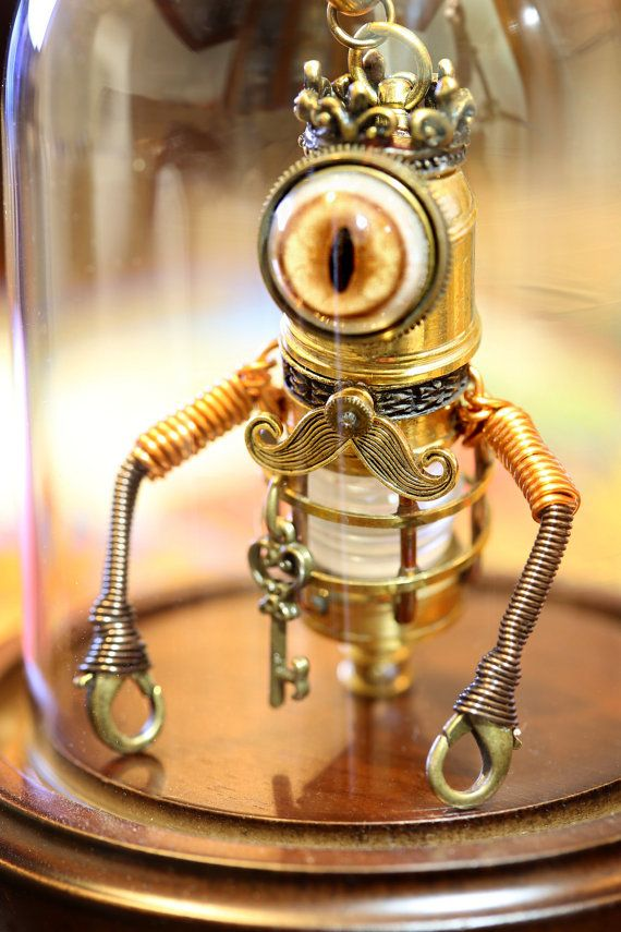 Little Steampunk Minion Robot Sculpture with Glass Dome Display - The King