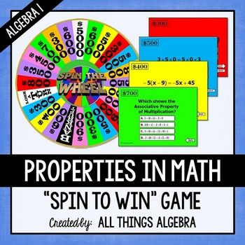"""Properties in Math Spin to Win Game (Algebra 1 Version)  This is a super fun Power Point game to play with the Smart Board (or just with a computer and projector) that reviews the real number properties.  Students hit the center of the wheel to """"spin"""", let it go around a few times, then touch the center to stop."""