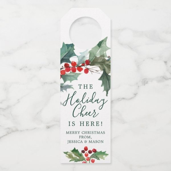 Holiday Holly Bottle Hanger Tags Christmas