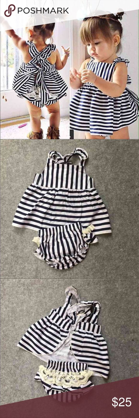 Striped Baby Girl Fashion Outfit New never worn baby girl striped outfit. Back is an open back tie up top and matching diaper cover bottom has lace on the butt. Soooo cute! It's too big for my daughter and she has too many clothes so I'm getting rid of it. Size 12-18 months. My loss is your gain. This outfit is too cute and trendy! Matching Sets