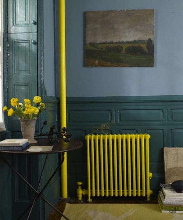Painted radiators add bright pops color.
