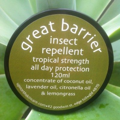 Great Barrier | Up North Skin Care  Great Barrier Insect Repellant  Tropical strength, all day protection against mozzies, sand flies, midges and march flies.  A thick cream with a lemon grass scent.  Only a small amount required for excellent coverage.  Jar size 120ml  Contains essential oils of coconut, lemon grass, sweet almond, peppermint, lavender, citronella, avocado, jojoba, apricot kernel and green tea extract with virgin olive oil and sunflower oil.