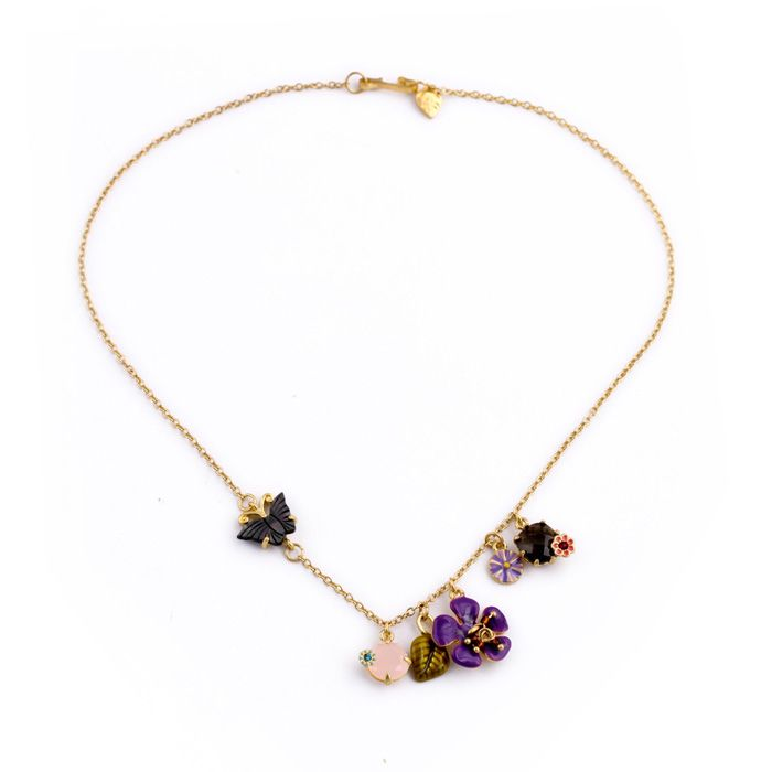 "Clo Clo London - Naomi. Spring-themed floral necklace. Lightweight. Length: 40cm (15.7"")"