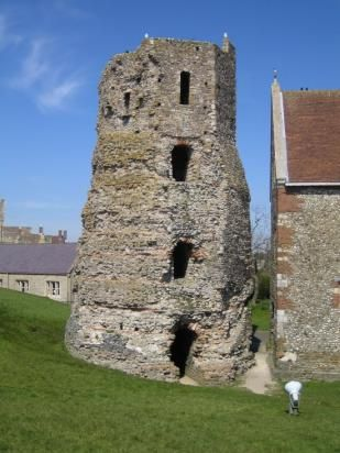 The Roman Lighthouse, the oldest building in England, dating around 50 AD, Dover Castle, Kent, UK