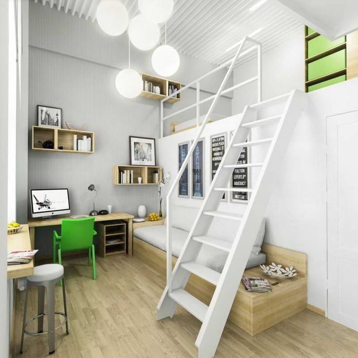 Marvelous Tween Room Decorating Ideas : Amazing Bedroom Design : Amazing Tween Room Ideas With Wooden Stairs Wooden Floors Green Chair IMac White Chair Cool Lamps Small Modern Desk Lamp