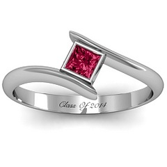 Princess Cut Bypass Ring | Jewlr Ruby- Class ring Engraved
