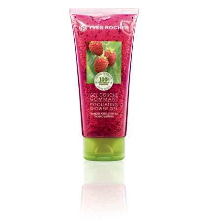 Our Raspberry Exfoliating Shower Gel.  Notre Gel douche gommant - Framboise.