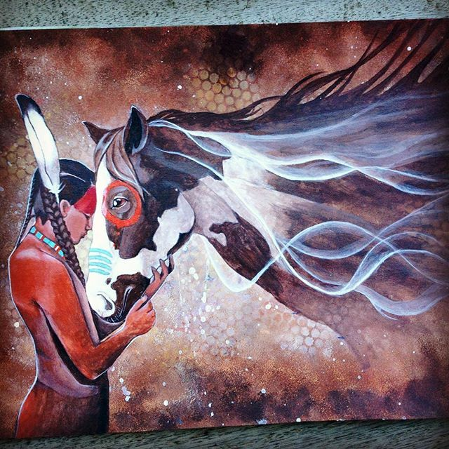 Native american painting, horse, spirit Instagram dayna.bar