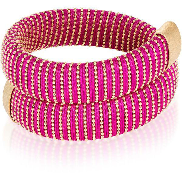 Carolina Bucci Magenta Caro Gold-Plated Bracelet ($440) ❤ liked on Polyvore featuring jewelry, bracelets, pink, gold plated jewellery, gold plated bangles, pink jewelry, carolina bucci jewellery and carolina bucci