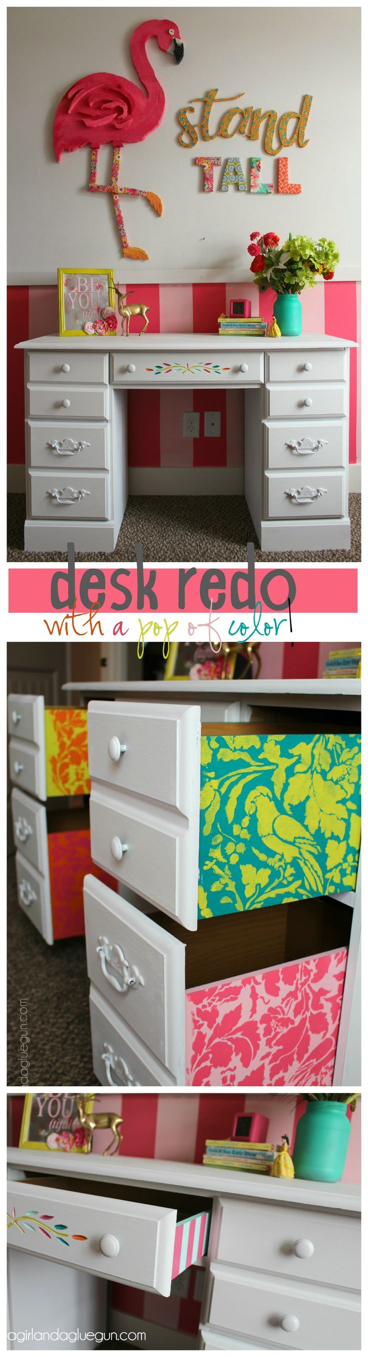 desk for little girls room repainted and stencil inside of drawers for a pop of color!
