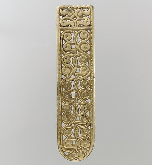 Gold Belt End Date: 8th century Culture: Avar Medium: Gold Dimensions: Overall: 5 x 1 3/16 x 3/16 in. (12.7 x 3 x 0.5 cm) Accession Number: 17.190.1673 Metropolitan Museum of Art Avars: mounted tribe, nomadic warriors, Eurasian steppe
