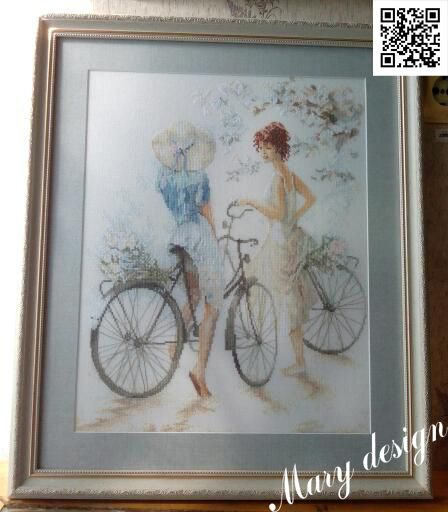 "Lanarte ""girls on bicycle"". Мулине DMC, канва Linda 27, #cross_stitch #вышивка_крестом"