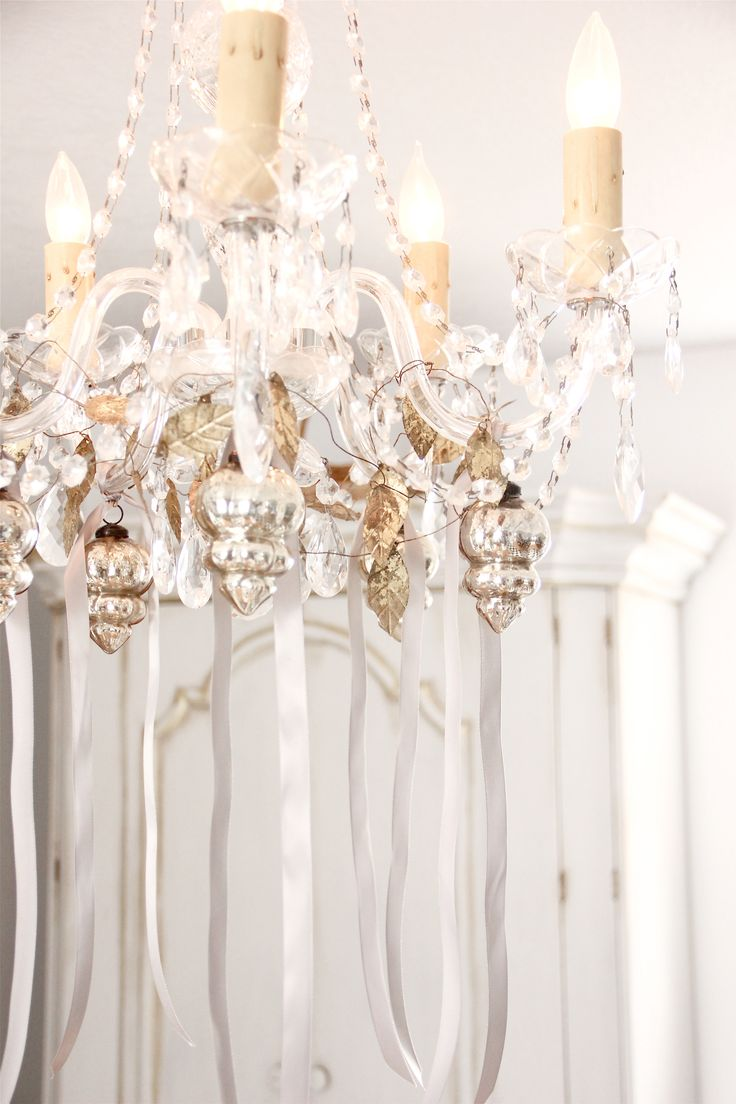 136 best decorate your chandeliers images on pinterest christmas embellished chandelier in my dining room anita rivera arubaitofo Gallery