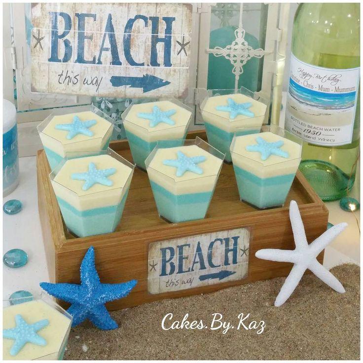 Blue beach themed desserts. Vanilla bean panna cotta Cakes.By.Kaz