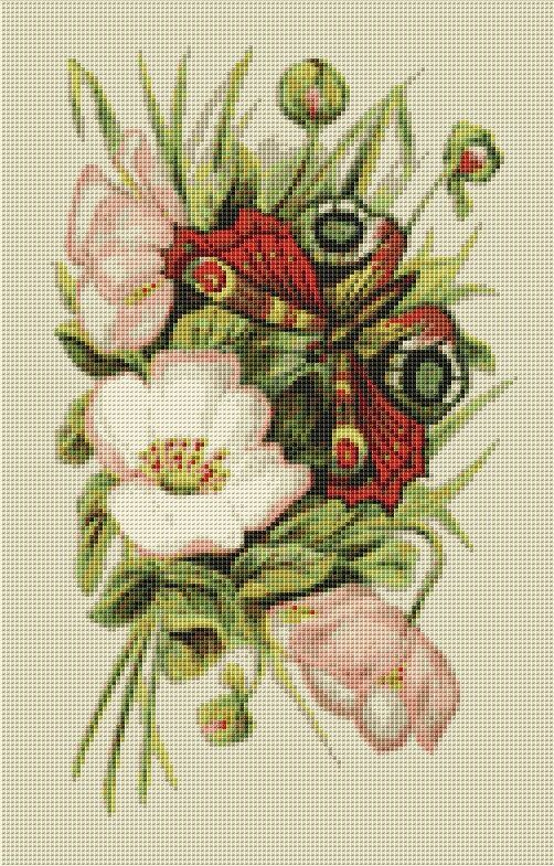 Butterfly and Roses Cross Stitch Pattern, Instant PDF Digital Download Counted Cross Stitch Chart, Embroidery Pattern, Needlework Pattern