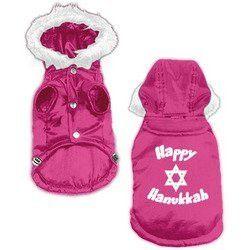 Dog Supplies Happy Hanukkah Screen Print Pet Coat Pink S (10)