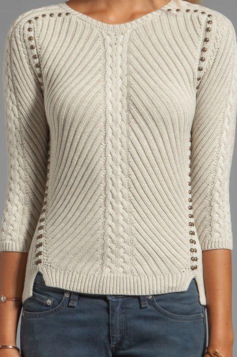 Autumn Cashmere Studded Rib Cable Crew Sweater em Linho | REVOLVE