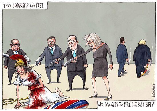 Conservative leadership cartoon
