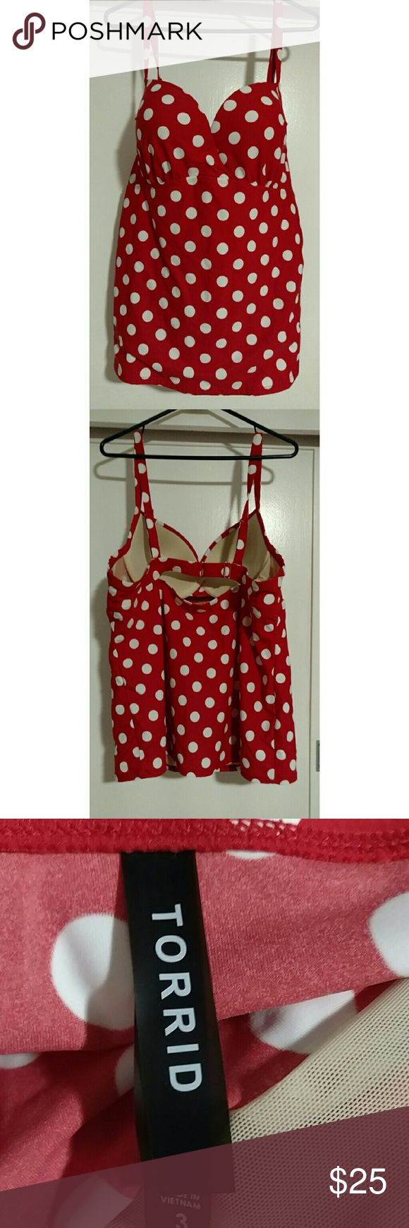 Torrid Red White Polka Dot Tankini Swim Top 3 3X Torrid Red White Polka Dot Tankini Swim Top Sz 3 3X. Cleavage enhancing padding and underwire. Preowned very nice condition. So cute! torrid Swim Bikinis