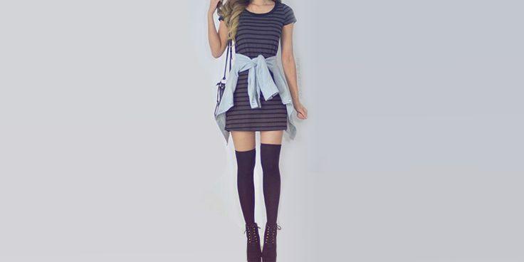 14 Ideas para combinar unas medias a la rodilla con un vestido o falda