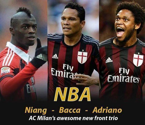 Oto nowe niesamowite ofensywne trio AC Milanu • NBA czyli M'Baye Niang, Carlos Bacca, Luiz Adriano • Wejdź i zobacz atak Milanu >> #milan #acmilan #soccer #sports #football #pilkanozna