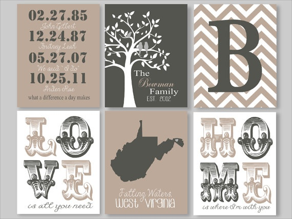 Family Tree - Set of Six - Custom Family Print - Family gift - Important Dates - State print - Home Decor - Foyer Decor
