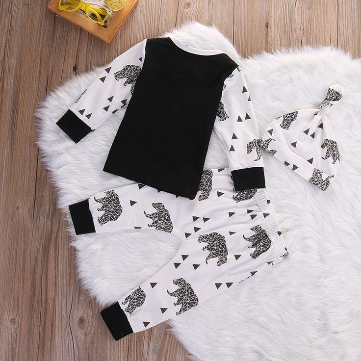 3pcs Newborn Baby Infant Boy Girls Bear T shirt Top Pants Leggings Outfits Set Children Kids. Click visit to buy #BabyBoyClothingSets