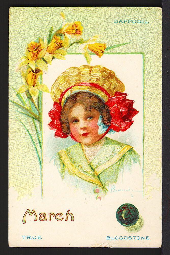 March Horoscope, Birth Stone, Flower & Pretty Girl - Victorian Advert.Trade Card