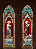 Painted Glazen van heiligen in de rooms-katholieke kerk in Chanthaburi Province, Thailand. (De Kathedraal van de Onbevlekte Ontvangenis)