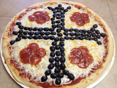 """Catholic Cuisine: A Little """"Pizza Italy"""" With St. Benedict - lots of black olives, I'd go for the chopped version instead of sliced."""