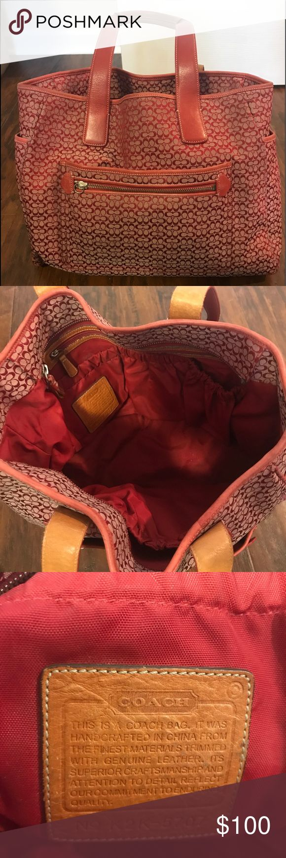 "Red Coach shoulder bag Large Size. Measures 18""…"