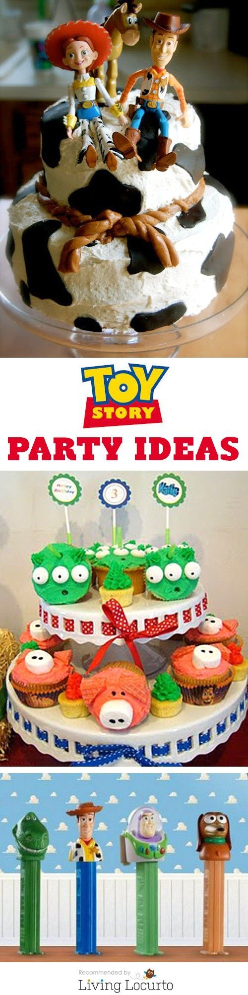 Toy Story Birthday Party ideas! Cute Woody, Buzz Light Year and the gang themed cakes, cookies, cupcakes, free party printables, party favors, crafts and kid games! LivingLocurto.com #themedcakes