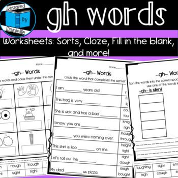 GH Worksheets Sorts, Fill in the blank, and more   Gh ...