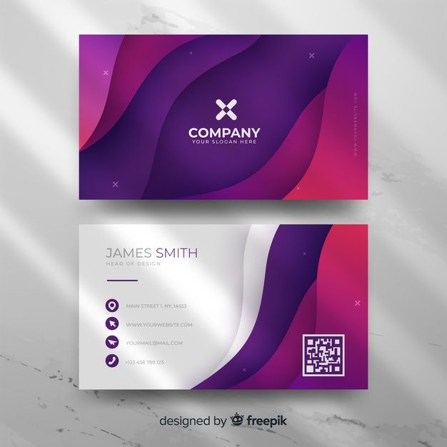 Download Modern Abstract Gradient Business Card Template For Free Vector Business Card Free Business Card Templates White Business Card Design