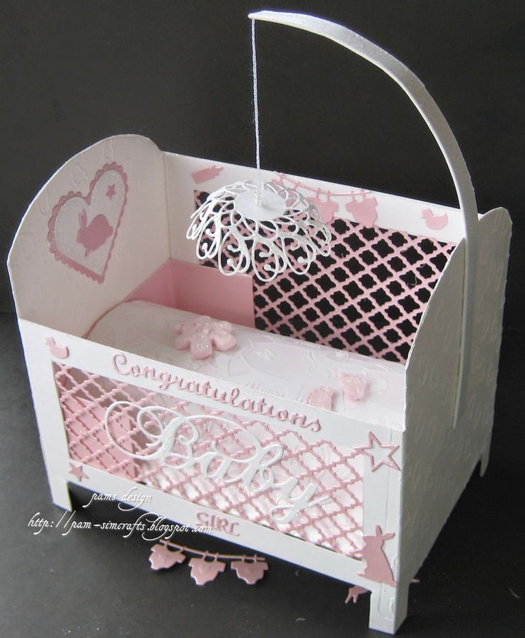 Baby Girl Paper Crib - Cherub Cot and Box Template (Arty Farty, UK); Dies: Classic Hearts, Scalloped Heart, Fancy Lattice - Spellbinders; Fuzzy Bunnies POP-993, Baby Clothes MBOX-98625, Baby Stuff MBOX-98702, Quinn Flourish MBOX-98267 - Memory Box.
