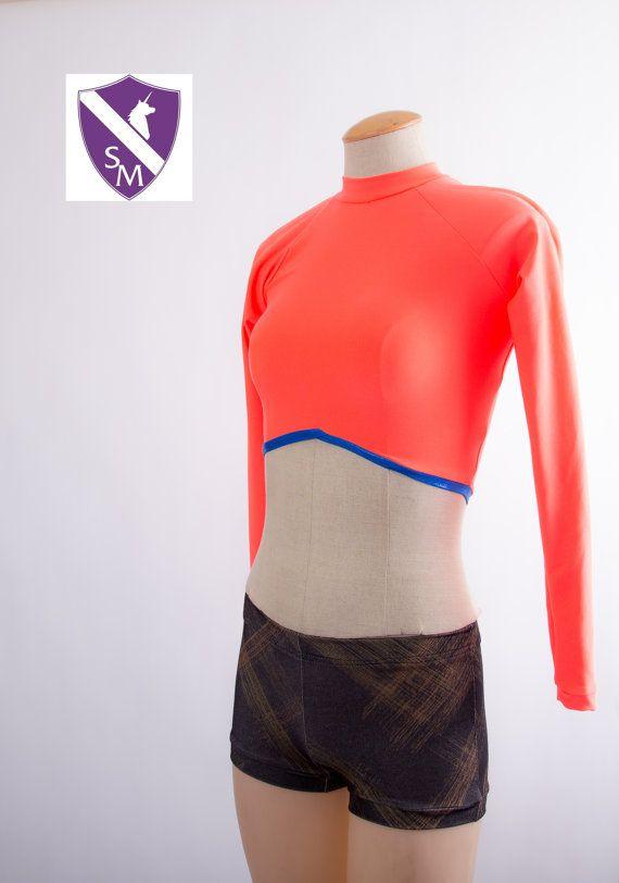 Neon Crop Top,Long Sleeve,Open Back Shirt,Neon Rave,Mid Drift Top,Halter Top,Bright Orange,Neon Shirt,Festival Outfit,Rave Clothes,EDM Shirt
