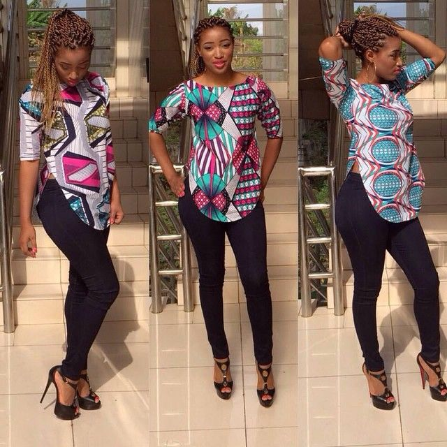 African print blouse, Ladies Blouse, Ankara tops, African fabric, african  clothe - www.